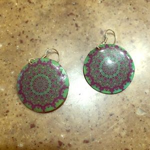 Jewelry - Psychedelic green and purple hippie earrings